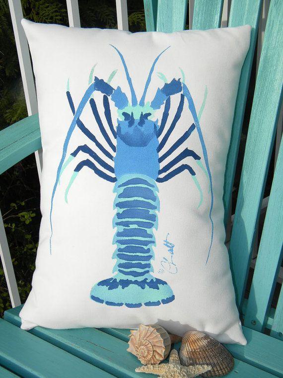 Outdoor pillow SPINY LOBSTER 15x20 lumbar ocean by crabbychris, $38.00