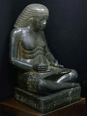 Amenhotep, son of Hapu, as a scribe  Because scribes were powerful and respected, Egyptian officials often chose to portray themselves in this deceptively humble pose.  Eighteenth Dynasty Reign of Amenhotep III, 1390–1352 BCE From Thebes, Temple of Karnak Granodiorite The Egyptian Museum, Cairo