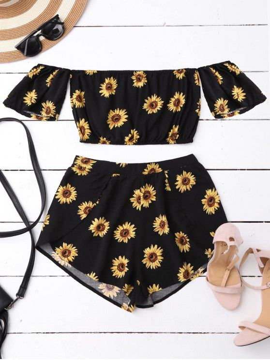 $13.49 Off Shoulder Crop Top and Sunflower Shorts - BLACK M