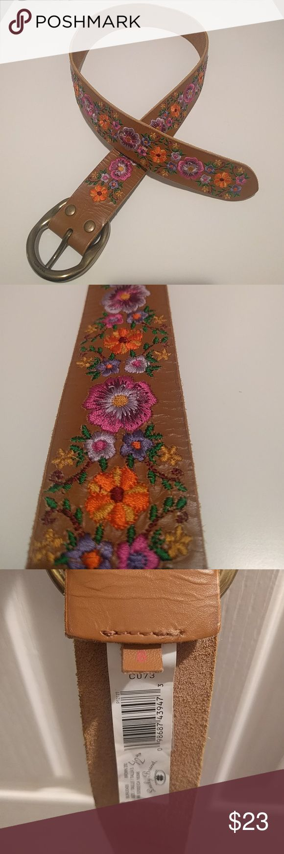 "Lucky Brand belt Leather belt with floral embroidery. 37"" long, size small. Lucky Brand Accessories Belts"