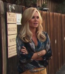 Tamra Barney's Printed Blouse & Yellow Jeans http://www.bigblondehair.com/real-housewives/rhoc/tamra-barneys-wine-tasting-blouse-yellow-jeans/