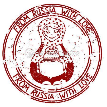 stempel met Russische pop matrioshka — Stockillustratie #25318943