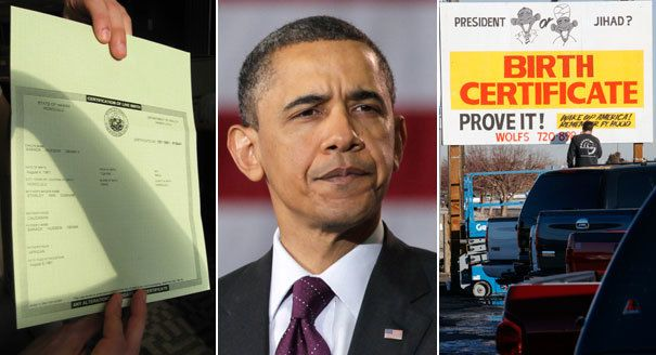 From left: Barack Obama's birth certificate, Barack Obama and a billboard in Colorado are shown. | FactCheck.org, AP Photo