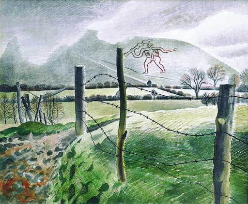 """""""The Cerne Abbas Giant"""" by Eric Ravilious, 1939"""