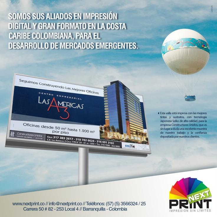 Diseño Mailing para Lanzamiento de Impresión a Gran Formato NextPrint - Noviembre de 2012 - Barranquilla, Colombia - Diseñadas por Lemon | Agencia de Medios y Publicidad. www.agencialemon.com — en Barranquilla- Atlantico, Colombia.