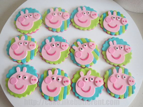 Peppa Pig Inspired Fondant Cupcake Toppers on Etsy, $28.00