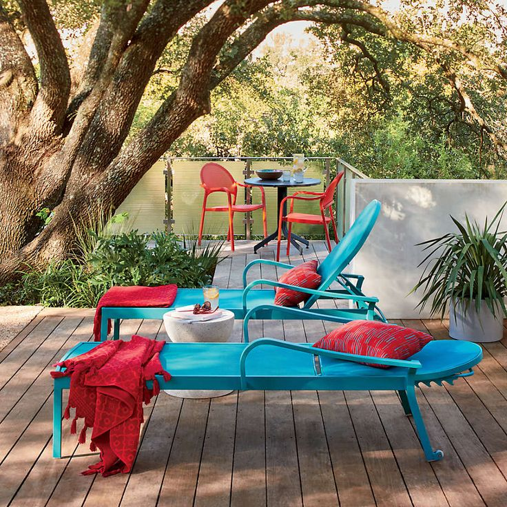 Lanai Aqua Mesh Chaise Lounge + Reviews | Crate and Barrel Pool Deck Furniture, Deck Furniture Layout, Painting Patio Furniture, Poolside Furniture, Outdoor Furniture Sets, Pool Lounge Chairs, Orange Furniture, Turquoise Pillows, Pool Accessories