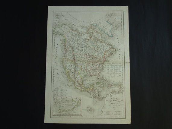 USA old map of North America 1844 original by VintageOldMaps