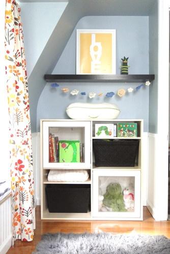 Nursery curtains playrooms : Nursery small space organization ideas