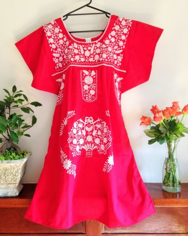Short Mexican Puebla Dress with Solid Embroidery - LARGE – Bohemian Tapestry