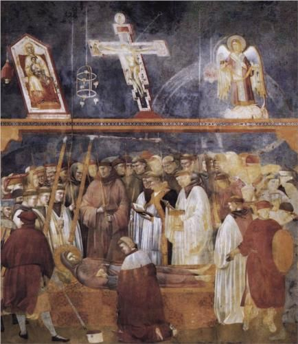 Giotto  St. Jerome Checking the Stigmata on the Body of St. Francis   1300  San Francesco, Upper Church, Assisi, Italy