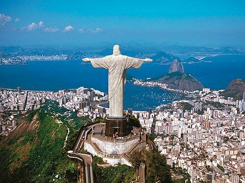 Christ The Redeemer in Rio. This enormous statue has been one of the world's most famous landmarks since it was built in 1931. It took 9 years to complete and at 38 metres tall.