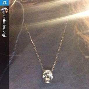 Chiara wears BLIND JACK! Skull pendant with Black and White Diamonds in the Eyes!