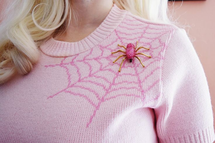 Winter web sweater and spider brooch in pink.   Vintage blog of burlesque bombshell and platinum pinup Tara MiSioux and Ashlyn Coco - Fashion, Beauty, Poodles, & Cocktails