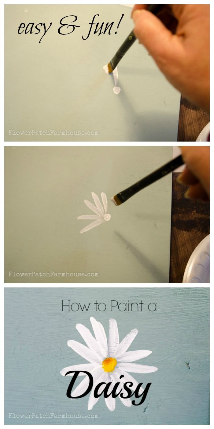 How to Paint a Simple Daisy, one stroke at a time, with video!, FlowerPatchFarmhouse.com