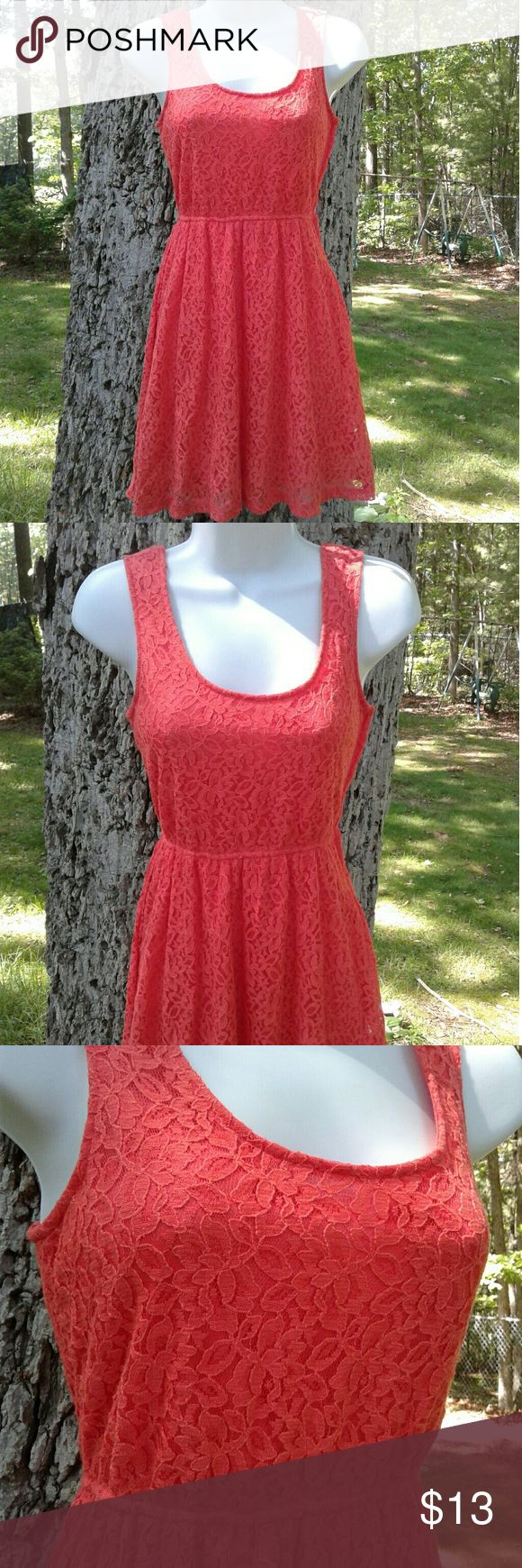 Orange Lace Dress Small Mossimo orange lace dress, zips up the side. Size small Mossimo Supply Co. Dresses Mini