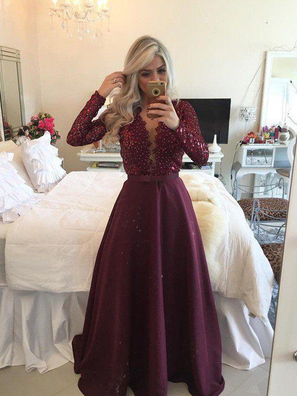 Scoop Floor Dresses Sequin Sleeves Long Satin Lineprincess A Length 5TnxSgX