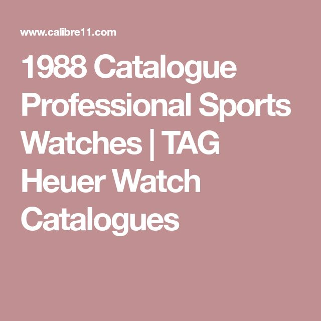 1988 Catalogue Professional Sports Watches | TAG Heuer Watch Catalogues