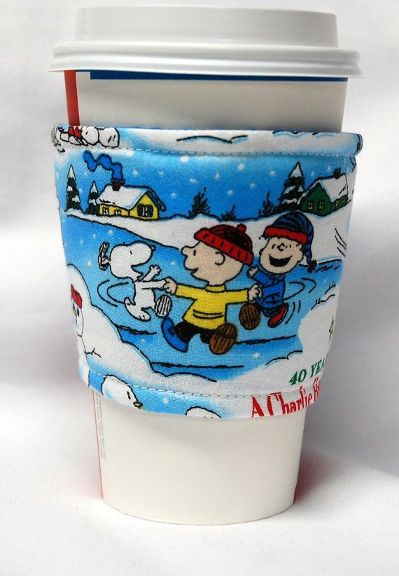 Charlie Brown Christmas - Happy Dance with Charlie, Linus and Snoopy - Love this fabric!  Coffee Cozy/Cup Sleeve Eco Friendly Slipon  by beyondquilts, $3.65