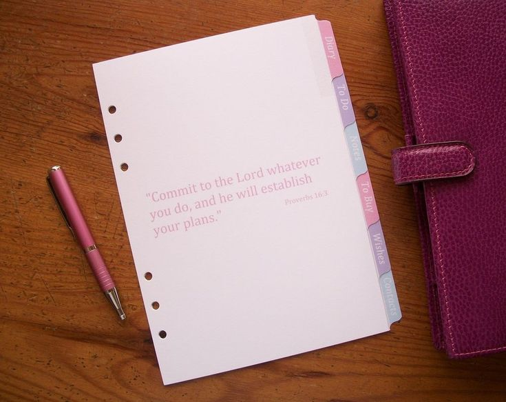 A5 Planner Subject  Dividers in Pastel with #bible #quotes from handmade by Mei. Fits #filofax