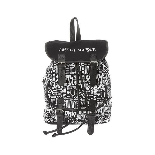 Justin Bieber Black and White Print Backpack | Claire's ❤ liked on Polyvore featuring bags, backpacks, print bags, rucksack bags, day pack backpack, black and white bag and backpack bags