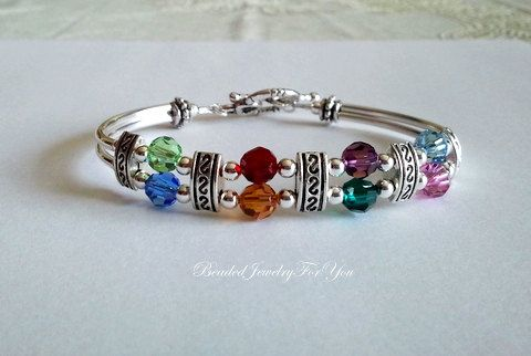 Mother's Birthstone Bangle Bracelet by beadedjewelryforyou on Etsy, $36.99