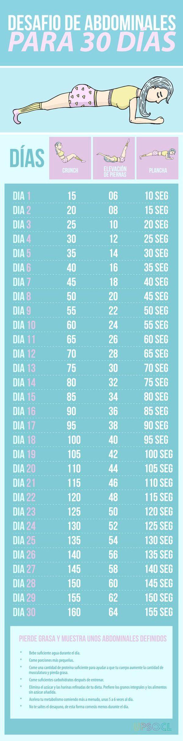 Reto con abdominales para 30 días de duro trabajo. #abdominales #infografias #deporte