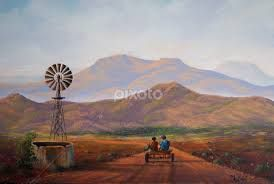 donkey cart and windmill