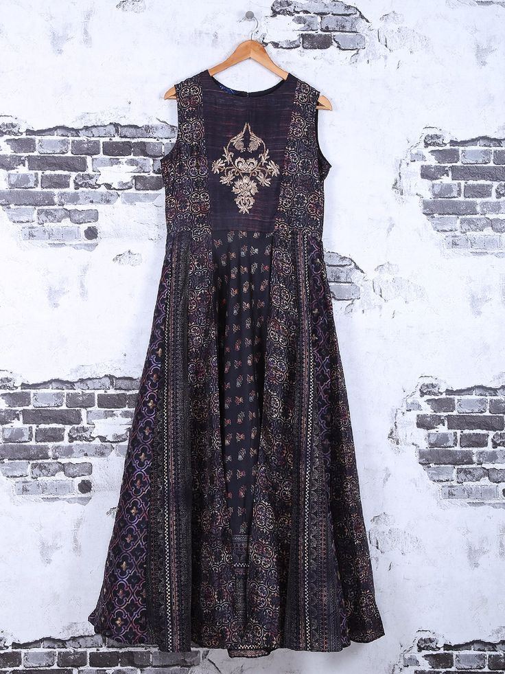Shop Black printed cotton anarkali suit online from G3fashion India. Brand - G3, Product code - G3-WKU1017, Price - 5195, Color - Black, Fabric - Cotton,