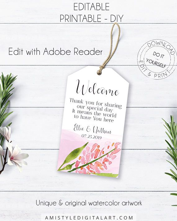 Blush Wedding Welcome Tags, with adorable stylish lilac flower on a watercolor background in whimsical and boho style.This elegant wedding welcome tag template is an instant download EDITABLE PDF so you can download it right away, DIY edit and print it at home or at your local copy shop by Amistyle Digital Art on Etsy