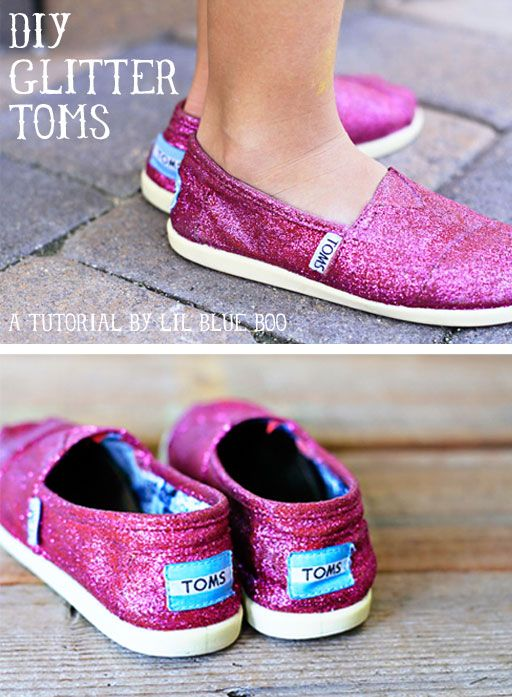 DIY Glitter TOMS via lilblueboo.com as an FYI the crew over at Toms is really cool.  when my daughters silver glitter toms started to fall apart they replaced them and didn't even ask for the old pair. toms rock.