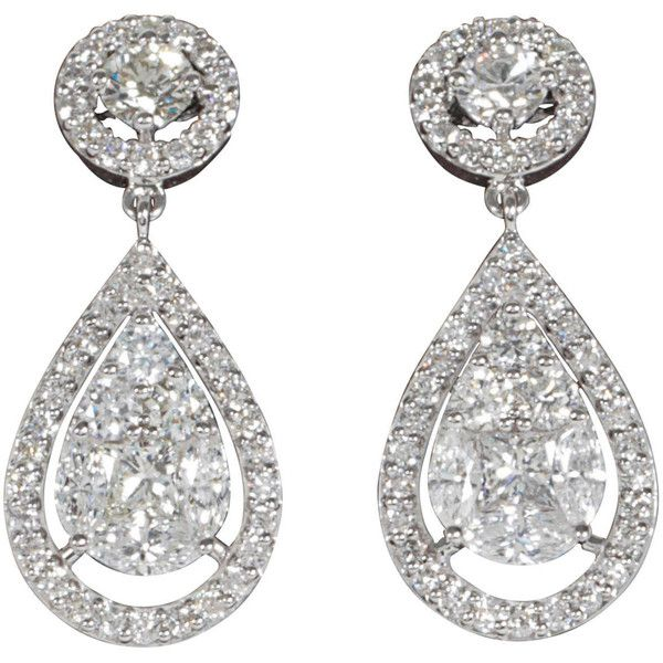 Preowned Elegant Illusion Diamond Dangle Earrings ($9,500) ❤ liked on Polyvore featuring jewelry, earrings, accessories, joias, multiple, 18 karat gold earrings, round diamond earrings, earrings jewelry, pre owned jewelry and dangle earrings