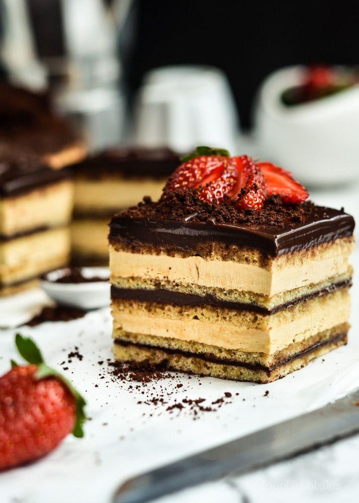 Dark chocolate coffee Opera Cake