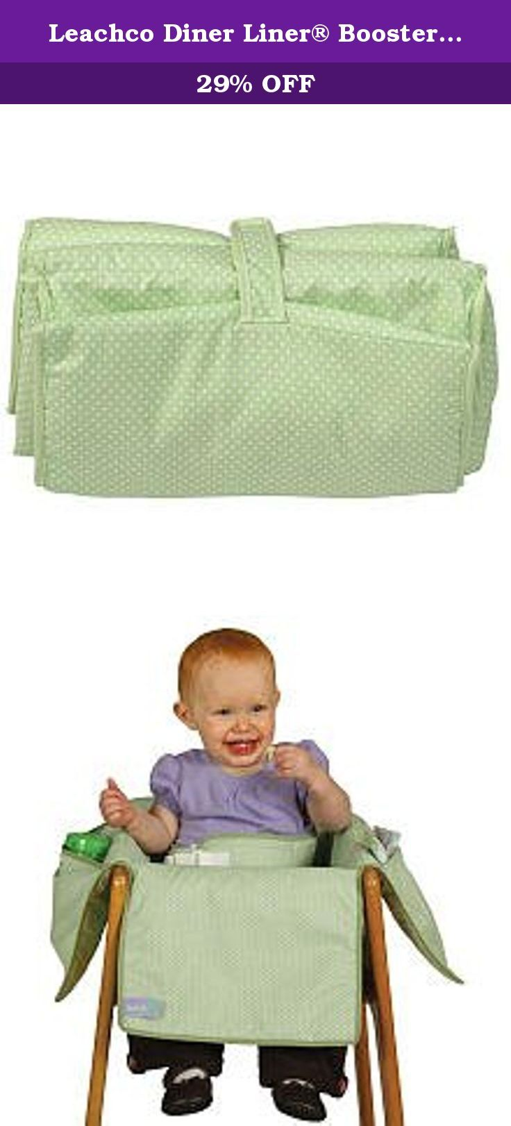 Leachco Diner Liner® Booster Chair Liner - Sage Dot. Leachco's Diner Liner Booster Chair Liner with Safety Belt in green pin dot print provides full coverage protection while dining out. Protects from germs, old food particles and even provides a stand-up restraint and slip prevention, all in one portable product. Safety belt is included to keep baby upright and secure. Convenient fold and go design and attaches to booster chair with VELCRO® brand closure for ease of use. Fully padded for...