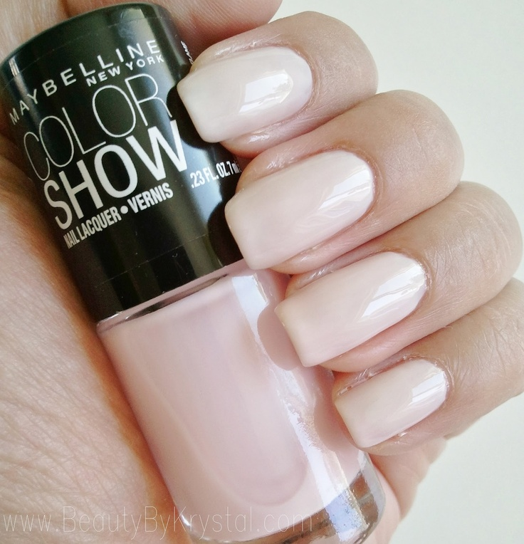 Maybelline Color Show Born With It: looks super pretty on pale skin. Ballerina pink mixed with cream color. Very sheer on first coat but opaque by the 3rd or 4th thin coat.