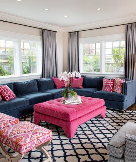 Keep Large Pieces Clean And Classic Surprising Low Cost Ways To Update Your Home Decor Pink Living Room Decor Blue And Pink Living Room Rugs In Living Room Blue living room decorating ideas