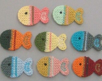 Lot of 8 Crochet Fish Appliques 8 Colors A126      Quantity: 8 Color: 1 each of the 8 colors shown Size: 1 1/2(W) x 1(H) Great for sewing, craft, clothing, bag, Scrapbooking, card making and more…    ------------------------------------------------------- Do not forget to put us positive feedback