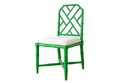 JARDIN faux bamboo SIDE CHAIR from Bungalow5. Also comes with arms and avail in several colors like navy.