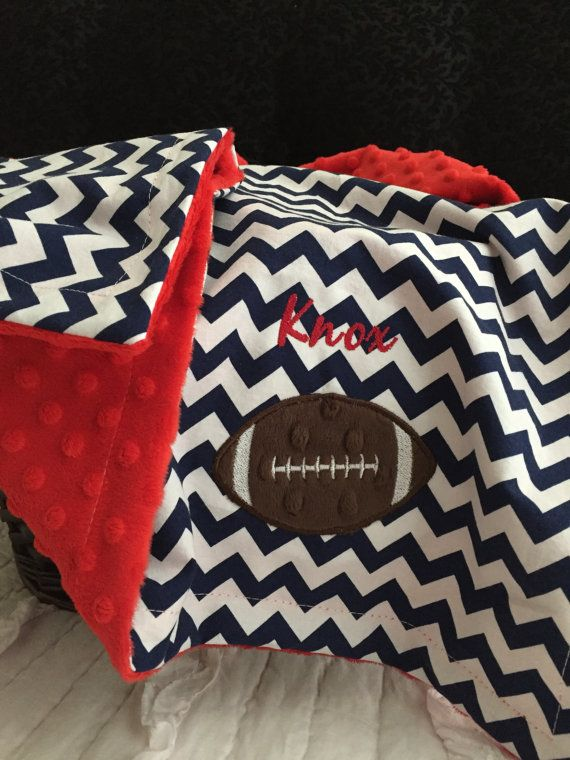 Football Baby Blanket  Personalized Football by OurAdorableBaby