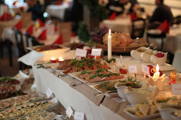 Swedish Julbord let you eat as much as you wish from all of the Chiristmas food.