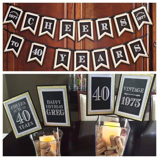 "40th Birthday ""Cheers to 40 Years"" banner and Centerpiece Sticks.   Masculine and Modern Party Decorations.  Black / Gold.  Any Age. by CharmingTouchParties on Etsy"