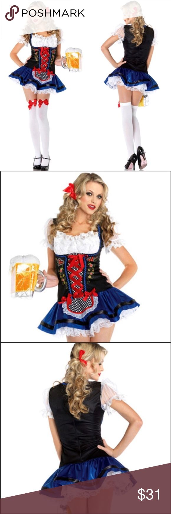 Sexy Oktoberfest Beer Waitress Costume Make all your friends jealous with this sexy Oktoberfest Beer Waiteress Costume. Only worn once! Costume has been washed. The lining on the color started to unravel due to being washed. Also, the heart appliqué on the right side of corset is starting to peel off due to being washed (See picture 5-7.) Other than those two minor flaws, the costume is in excellent condition. I also have the matching Beer purse for sale on another listing if interested…