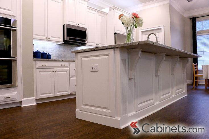 Attractive Panels For Kitchen Island #6: Decorative End Panels And Corbels Finish Off This Kitchen Island; Cabinets  Shown Are Deerfield Jupiter Maple Bright White | Cabinet Details |  Pinterest ...