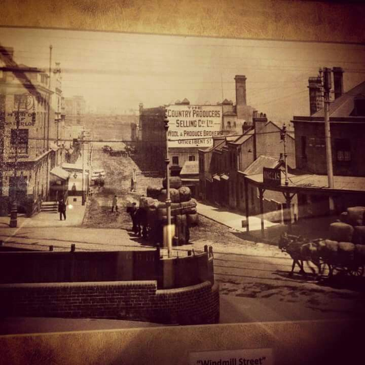 Looking down Windmill St,over Lower Fort St,from Trinity Lane in Millers Point,Sydney (year unknown).A♥W