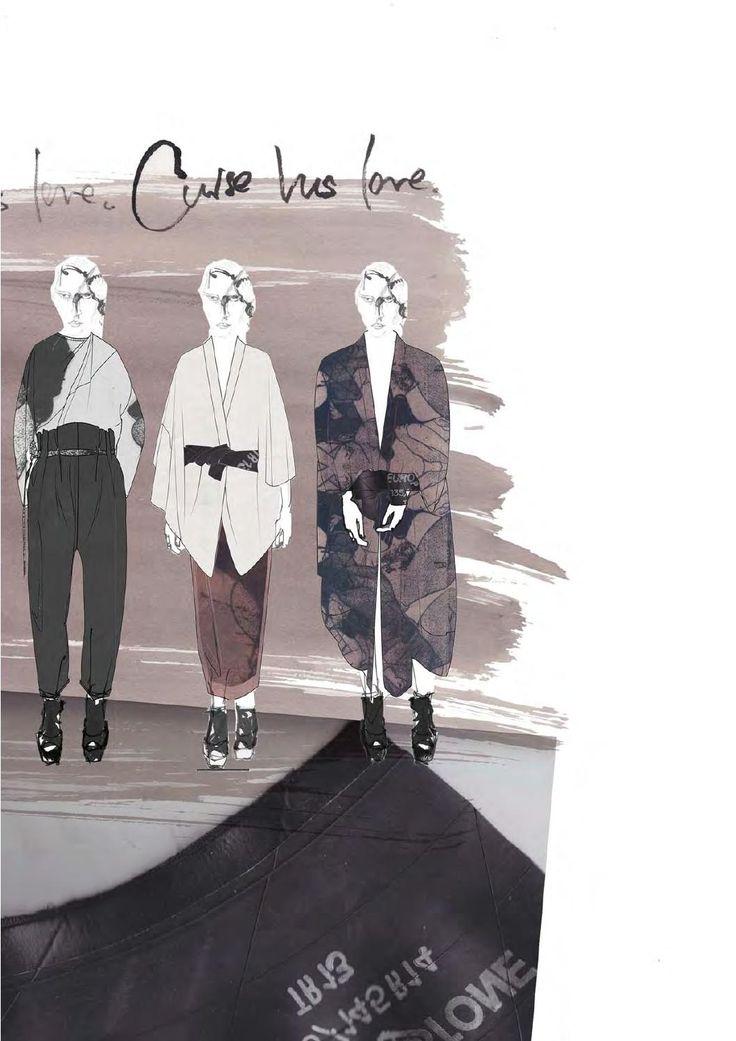 Fashion Sketchbook page - fashion illustrations; fashion student portfolio // Victoria Rowe
