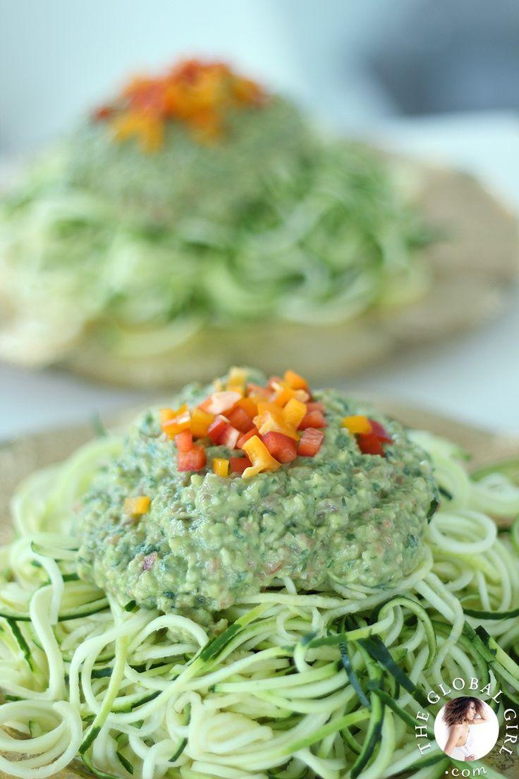 The Global Girl Raw Food Recipes: Raw vegan avocado basil sauce over zucchini noodles.