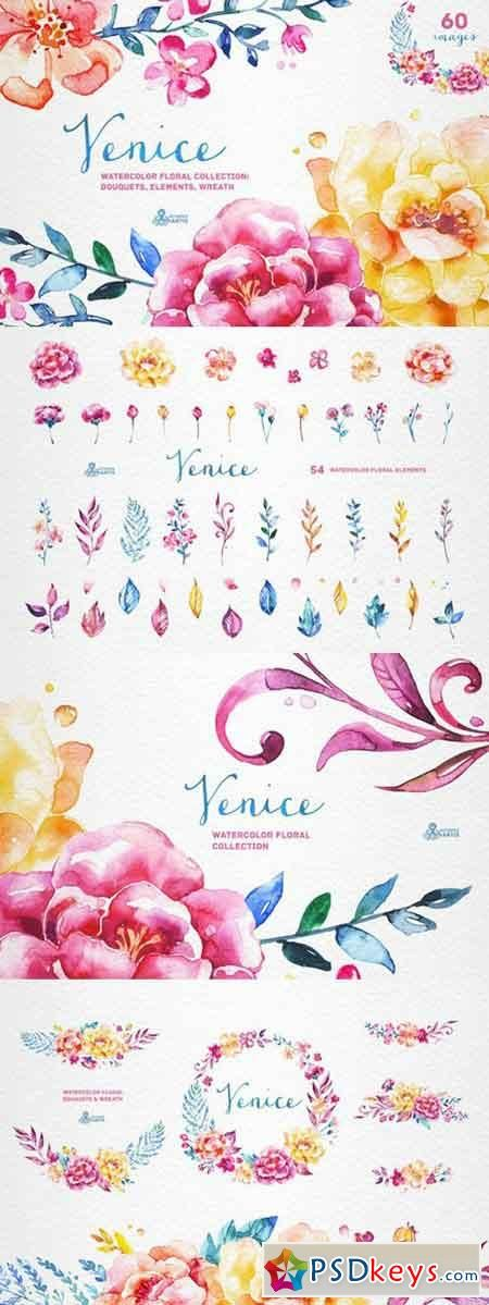 Venice. Watercolor floral collection 349480