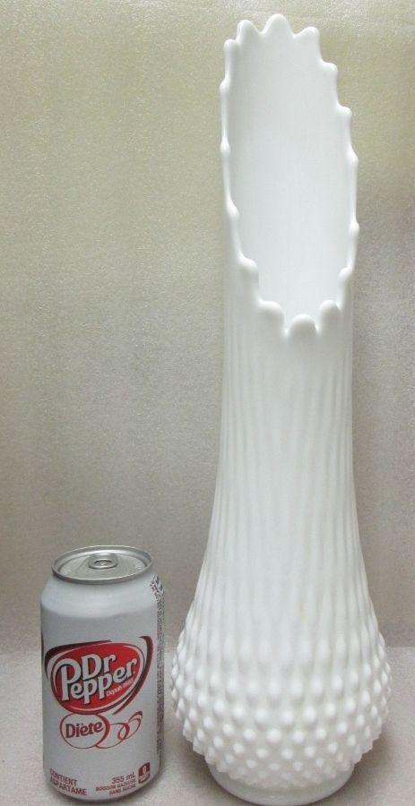 Fenton Hobnail Milk Glass LARGE SWUNG VASE Large 17