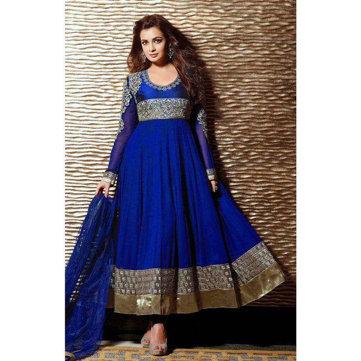 Diya Mirza  in Designer Blue  Color Anarkali Suit