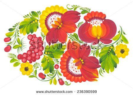 Hand drawn floral painting. Illustration in  Ukrainian traditional folk painting Petrykivka art (Petryakovka painting) - stock photo